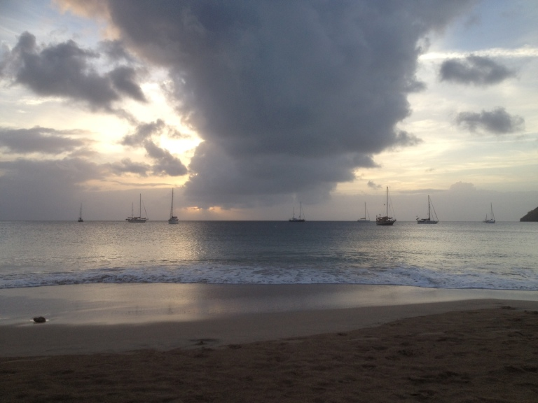 Sunset in St. Lucia - loved the clouds down there over the ocean