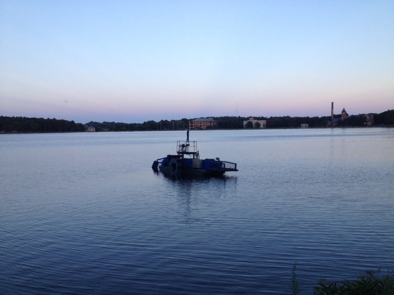 This makes an appearance at the reservoir every year. Is it a dredger?