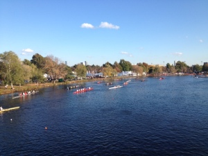 A view of all the crew teams lined up, ready to practice on the Charles River, before the Head of the Charles Regatta.