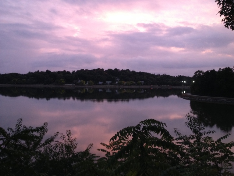 the reservoir right after sunset