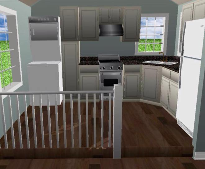 Artist's rendering of what the  inside of my tiny home may look like. The railing is there if you want to have a raised kitchen floor. Because I plan on adopting more disabled animals like Osito in the future, I will have it all one level.