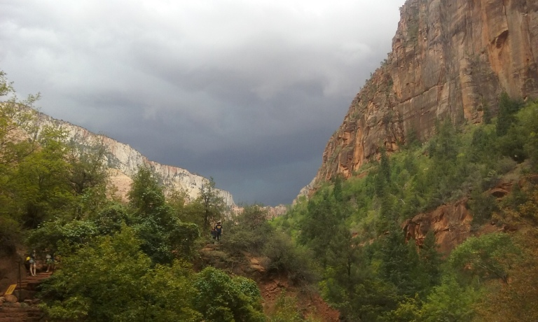 View of the incoming storm from the Lower Pool, of the Emerald Pools Trail at Zion National Park.