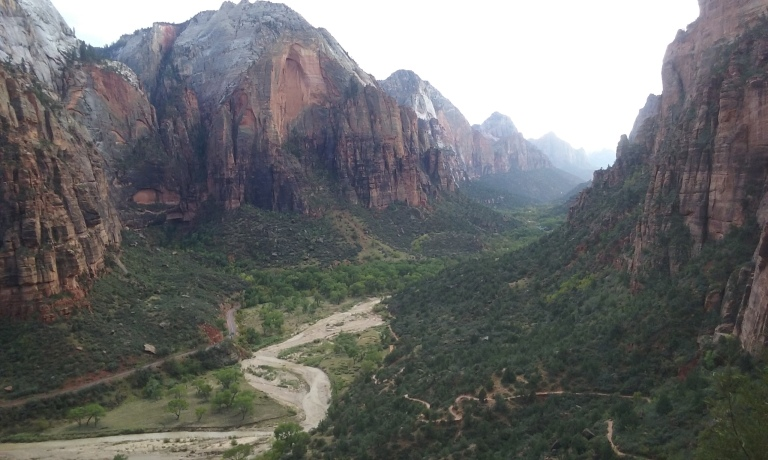 View of Zion National Park, looking west (or down canyon) from along the Angel's Landing Trail