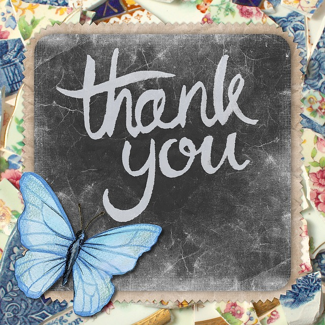 thank u card butterfly